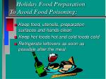 holiday food preparation to avoid food poisoning