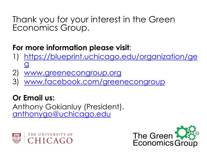 Thank you for your interest in the Green Economics Group.