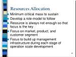 resources allocation