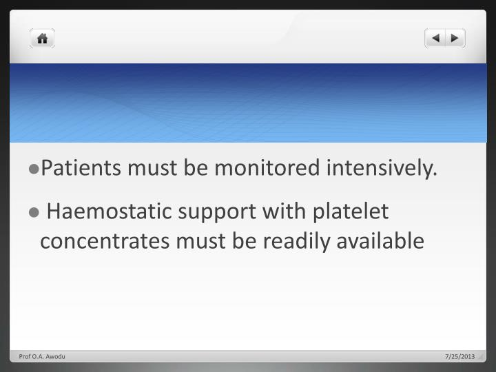 Patients must be monitored intensively.