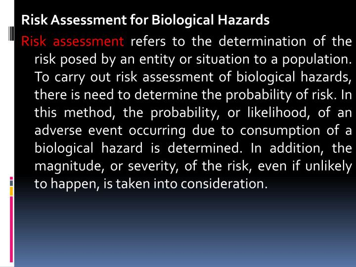 Risk Assessment for Biological Hazards