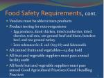 food safety requirements cont