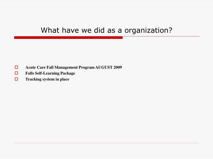 What have we did as a organization?