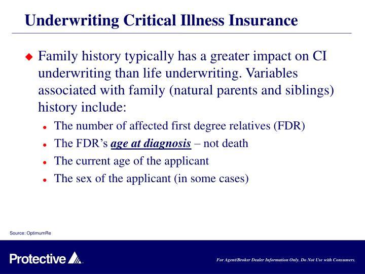 Underwriting Critical Illness Insurance