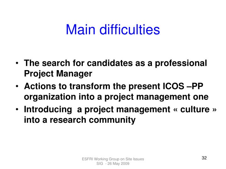 Main difficulties