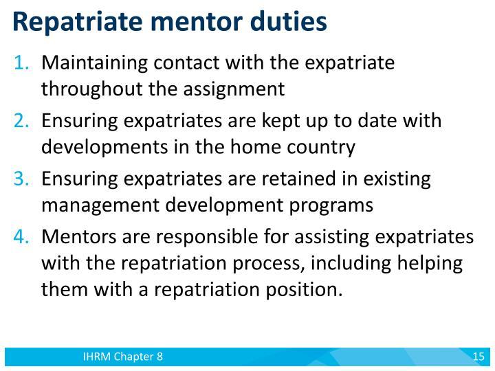 Repatriate mentor duties