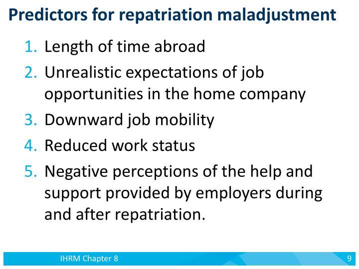 Predictors for repatriation maladjustment