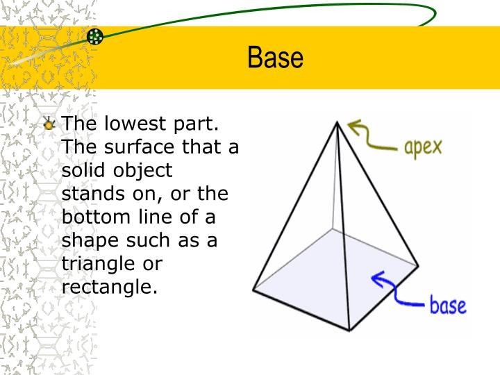 The lowest part. The surface that a solid object stands on, or the bottom line of a shape such as a triangle or rectangle.