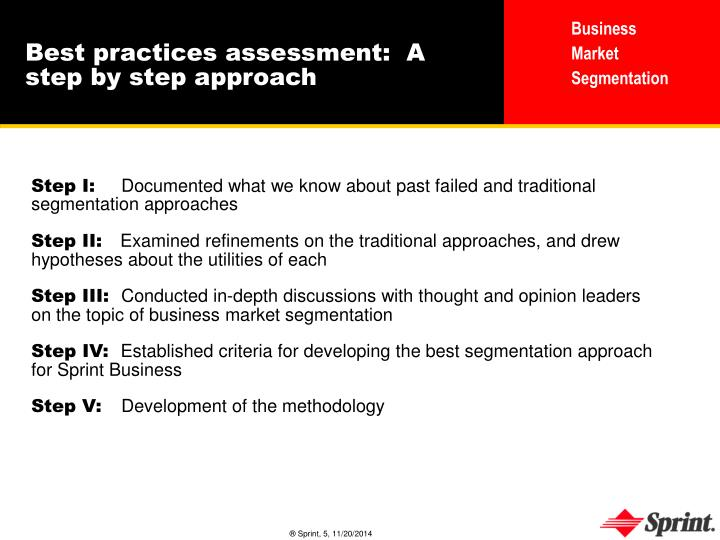 Best practices assessment:  A step by step approach
