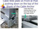 cable web plate on front @ post 1 pushing down on the top of the shank of the cable anchor