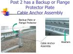 post 2 has a backup or flange protector plate cable anchor assembly