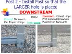 post 2 install post so that the larger hole is placed downstream