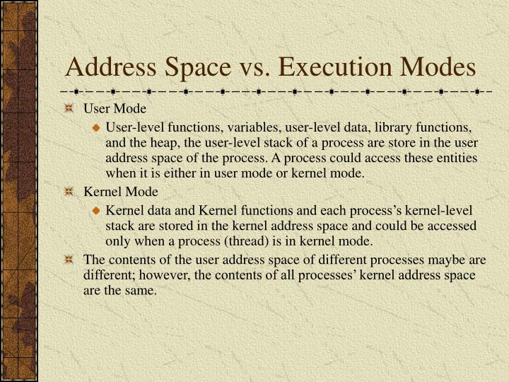 Address Space vs. Execution Modes