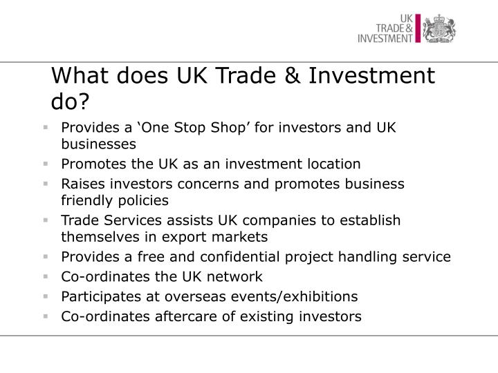 What does UK Trade & Investment do?