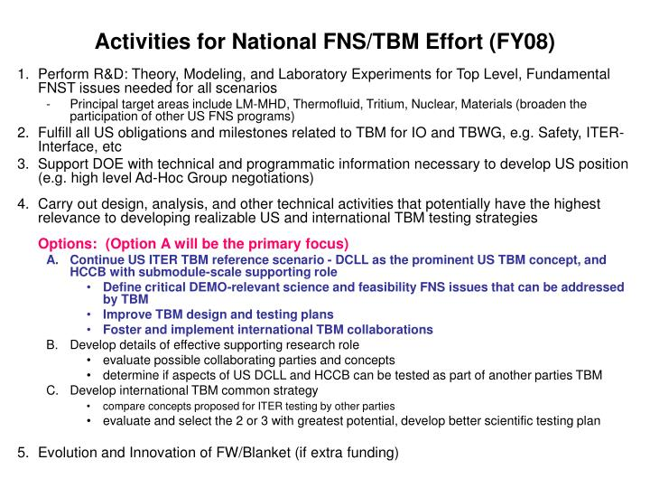 activities for national fns tbm effort fy08 n.