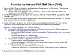 activities for national fns tbm effort fy08