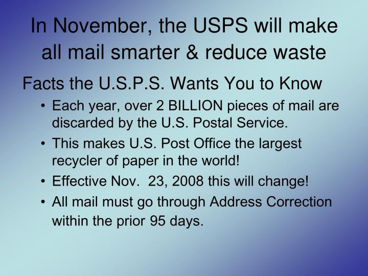 In november the usps will make all mail smarter reduce waste