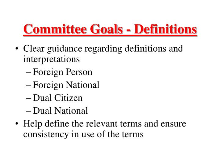 Committee goals definitions