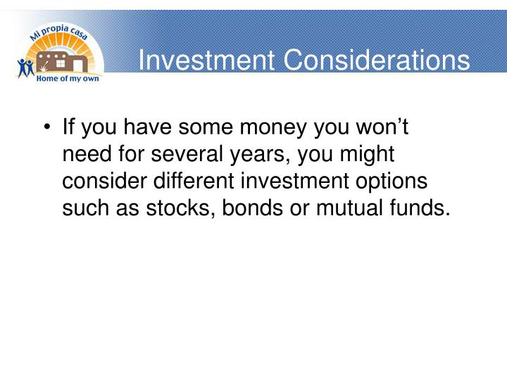 Investment Considerations