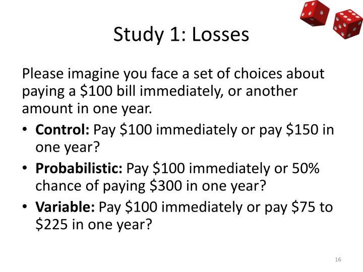 Study 1: Losses