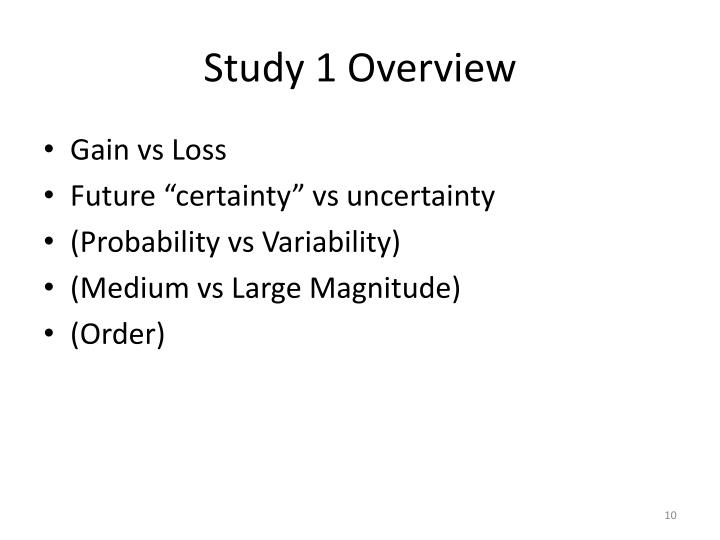 Study 1 Overview