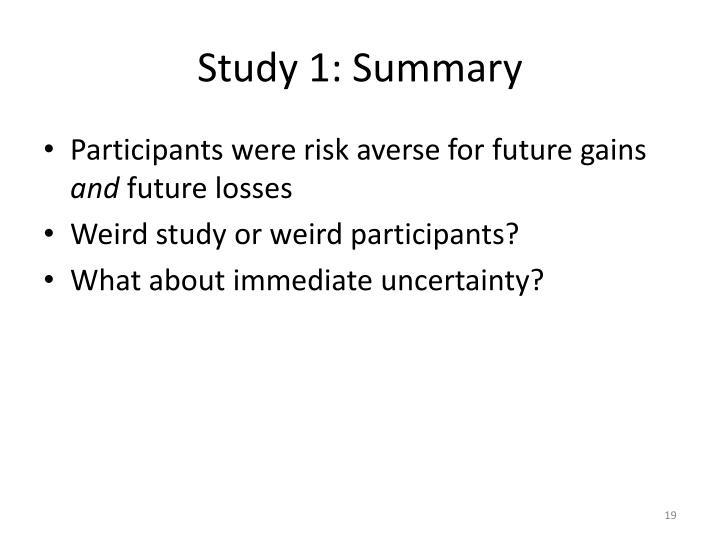 Study 1: Summary