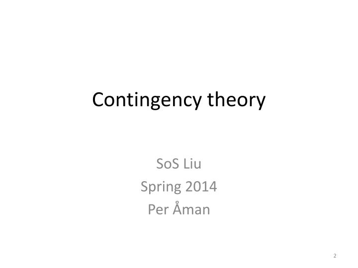 contingency theory n.