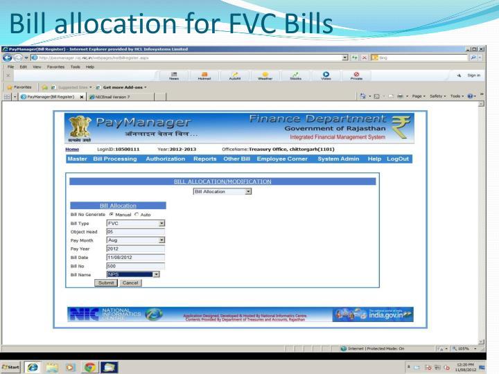 Bill allocation for fvc bills