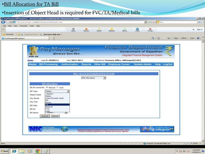 Bill Allocation for TA Bill