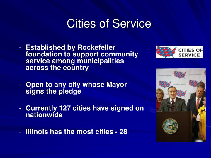 Established by Rockefeller foundation to support community service among municipalities across the country