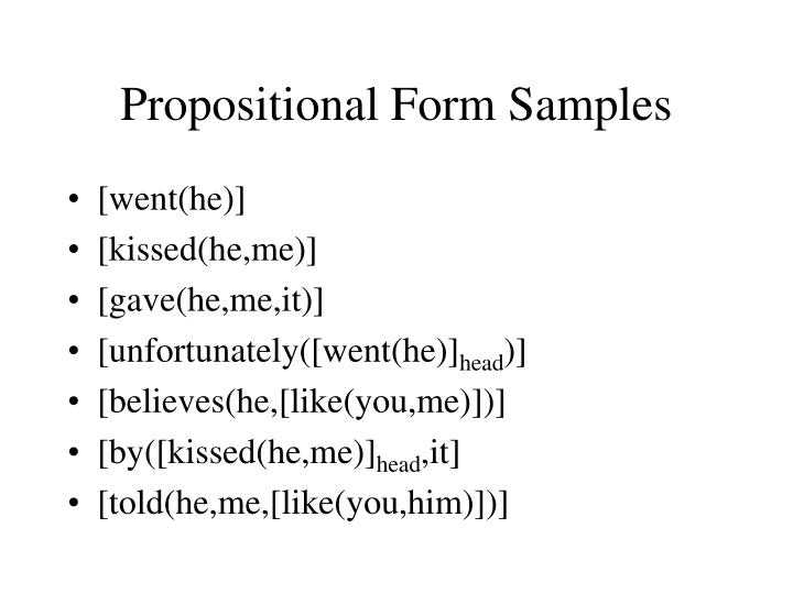 Propositional Form Samples