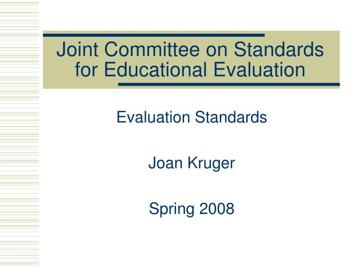 joint committee on standards for educational evaluation n.