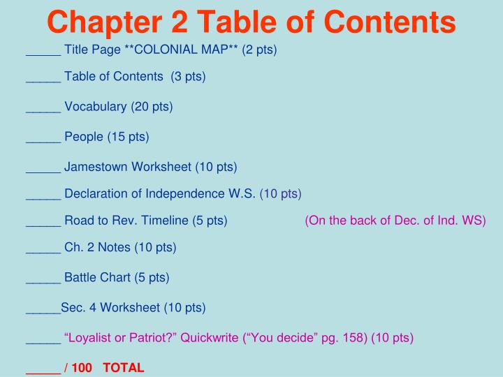 chapter 2 table of contents n.