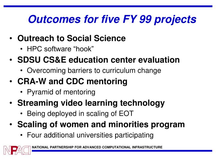 Outcomes for five FY 99 projects