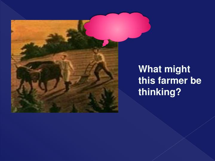 What might this farmer be thinking?