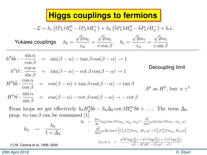 Higgs couplings to fermions
