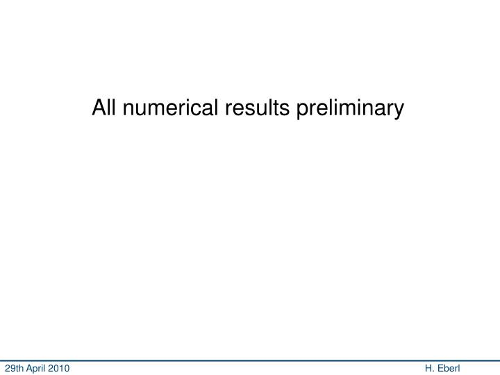 All numerical results preliminary