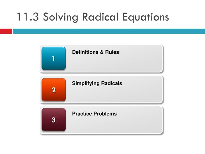 11 3 solving radical equations