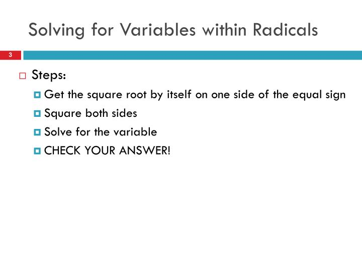 Solving for variables within radicals