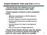 expert systems then and now cont d