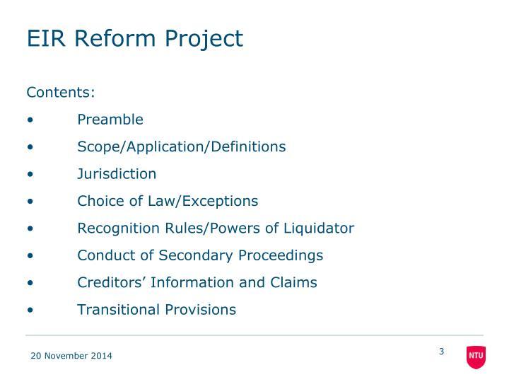 Eir reform project1