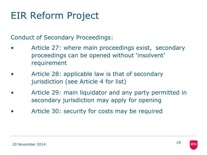 EIR Reform Project