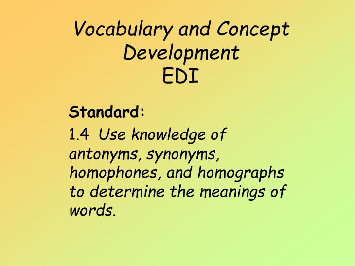 vocabulary and concept development edi n.