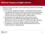 national treasury budget reforms