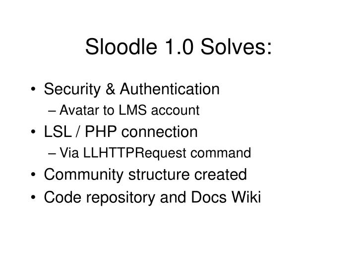 Sloodle 1.0 Solves: