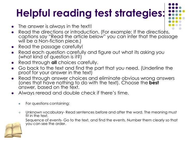 Helpful reading test strategies: