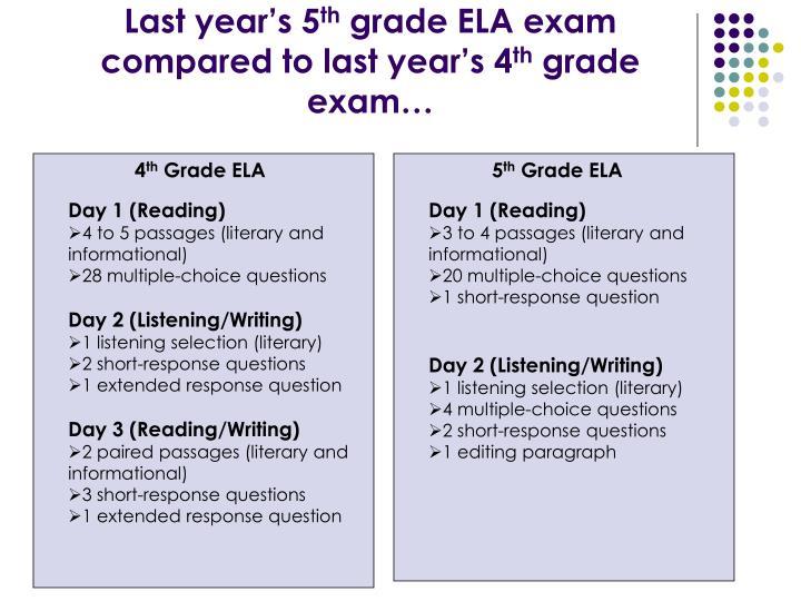 Last year s 5 th grade ela exam compared to last year s 4 th grade exam