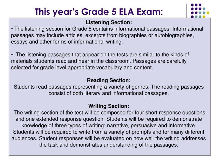 This year's Grade 5 ELA Exam: