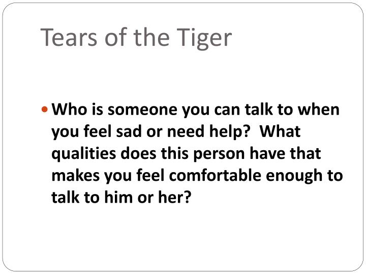write a letter to andy in tears of a tiger Open document below is a free excerpt of tears of a tiger: letter from rob to andy from anti essays, your source for free research papers, essays, and term paper.