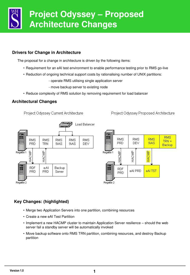 PPT - Project Odyssey – Proposed Architecture Changes PowerPoint